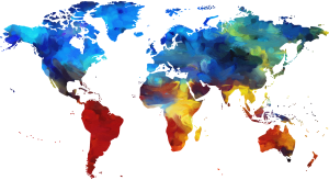 A map of all seven continents.