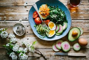 Healthy salad with avocado and eggs