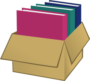 A box with documents inside.