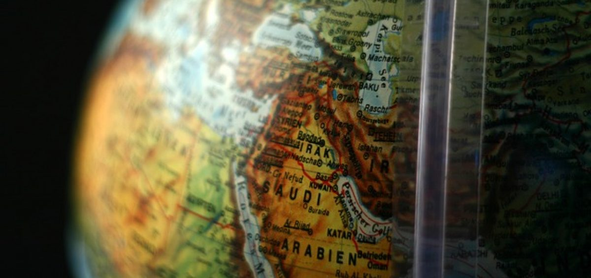 Saudi Arabia on the globe.