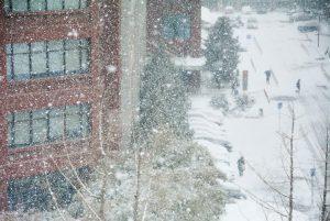 Snow falling.