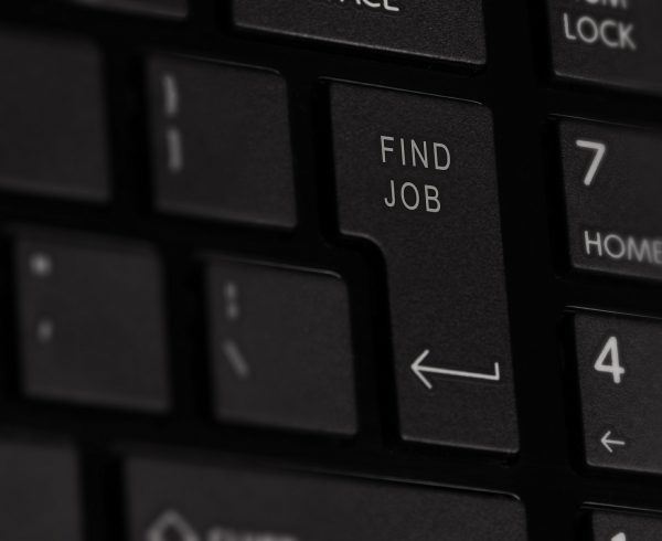 "A picture of a keyboard. One of the buttons says: ""find job"""
