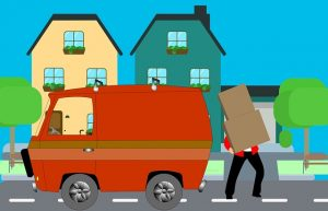 A drawing of a man loading moving box into a moving van