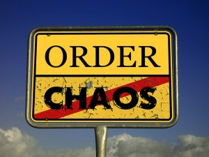 Sign with words order and chaos