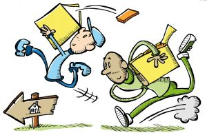 cartoons of people rushing
