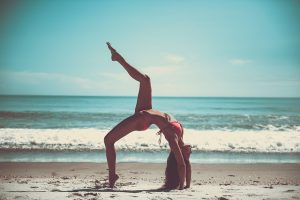 Yoga pose - yoga can be a way to handle stress when moving.