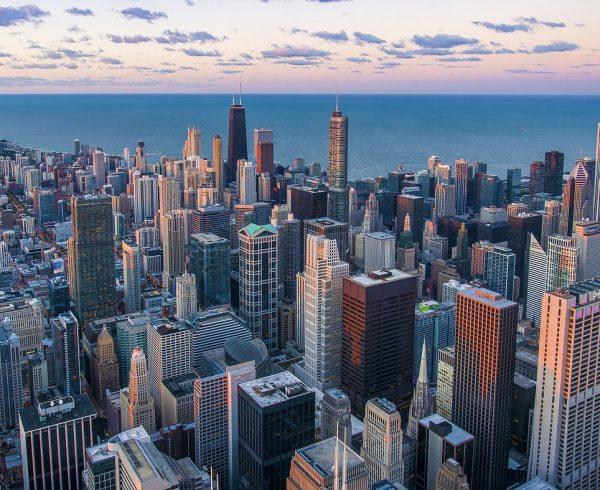 A Chicago cityscape.