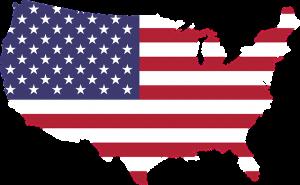 USA map and flag.