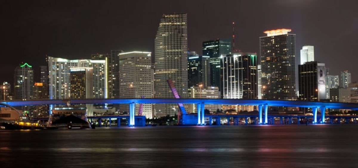 A high-rise building during nighttime, Miami.