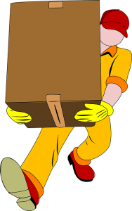 An illustration of a mover carrying a cardboard box.