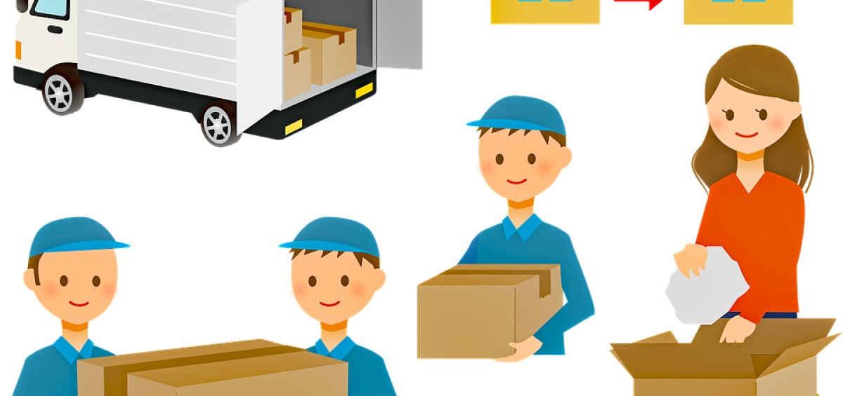 A cartoon drawing of movers helping with relocation.