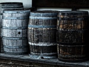 Barrels on snow