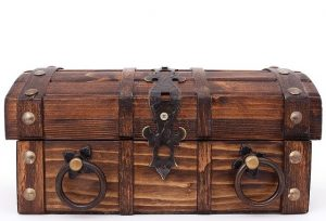 A wooden box for valuables.