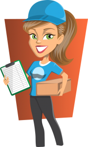 An illustration of a woman delivering a cardboard box.
