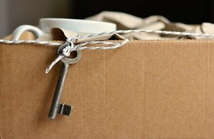 Items packed in a cardboard box.