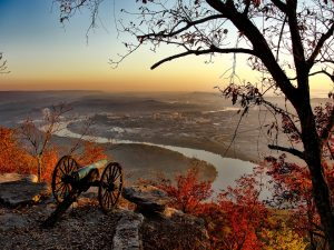 Chattanooga in Tennessee during a sunset.