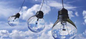 Three light bulbs and the skies.
