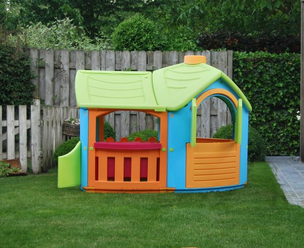 A playhouse in the backyard.