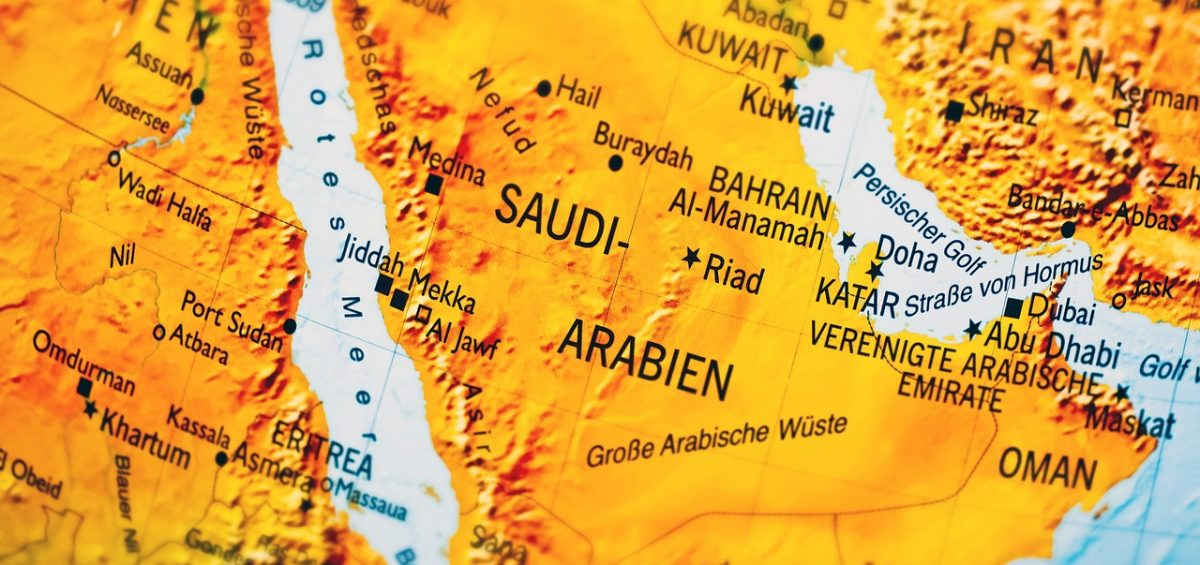 A map you can find in import guide for the Kingdom of Saudi Arabia.