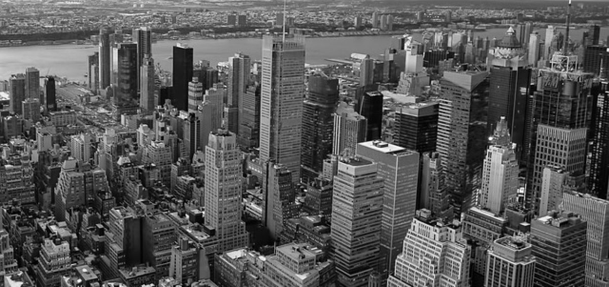 A black and white view of Manhattan.