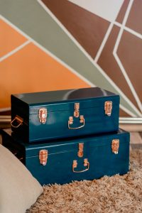 Two blue suitcases