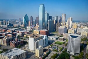 Areal view of Dallas, one of the Texas cities young professionals are moving to.