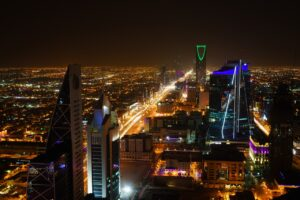 A nightin Riyadh, one of the cities in Saudi Arabia that Americans are moving to.