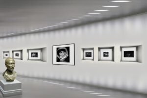 The interior of an art gallery.