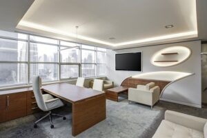 Modern office space in Washington DC with a view and lighting.