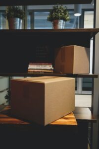 Two packed cardboard boxes ready for the move.