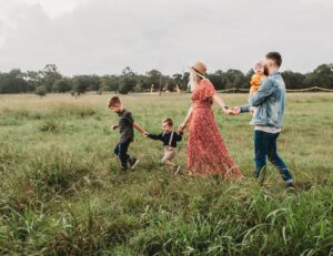 A family taking a walk in one of the best family-friendly suburbs near Washington DC.