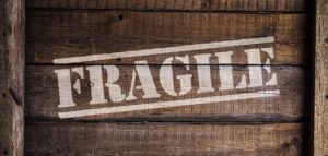 Fragile sign on the packing box.