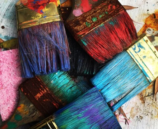 painting brushes in different colors.